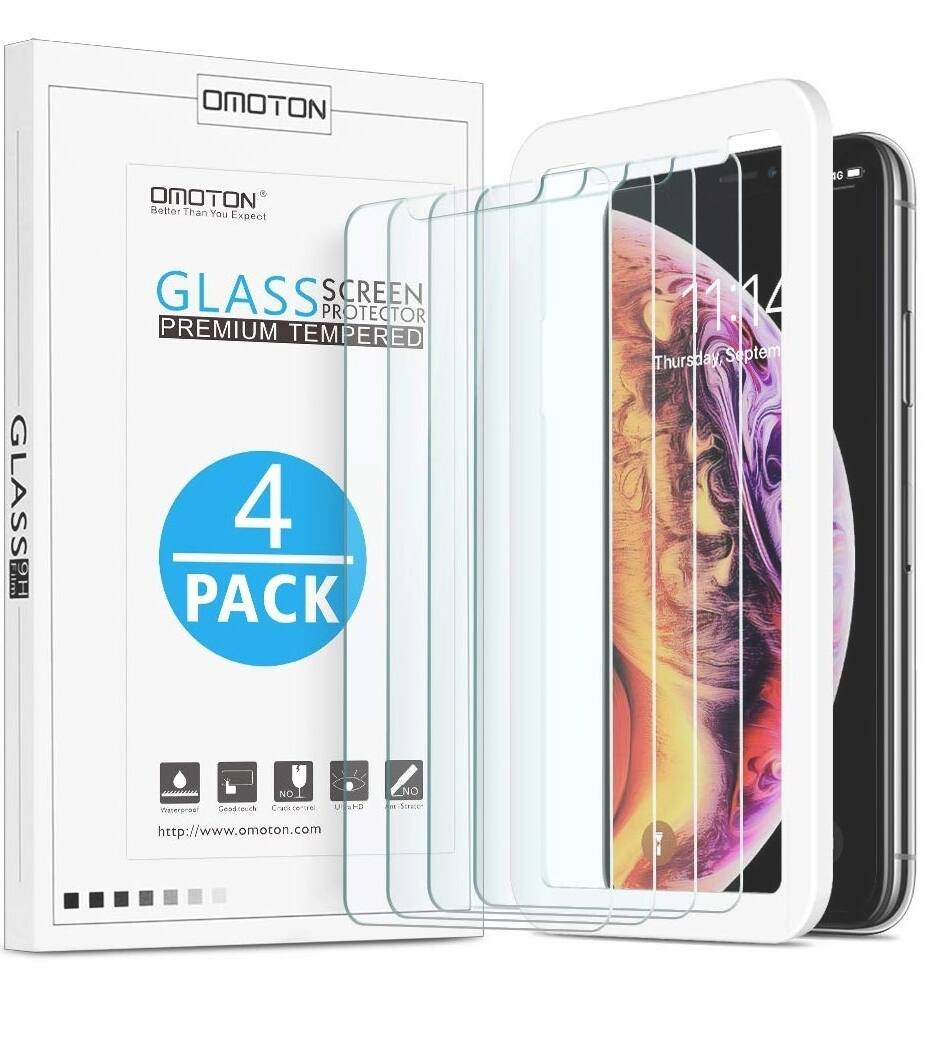 [4-Pack] OMOTON Screen Protector for iPhone  for $3.99