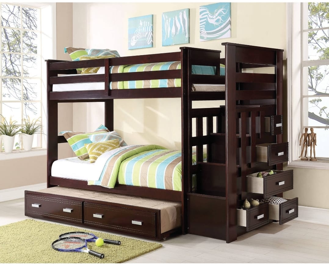 ACME Allentown Twin Over Twin Wood Bunk Bed with Storage for $517.29