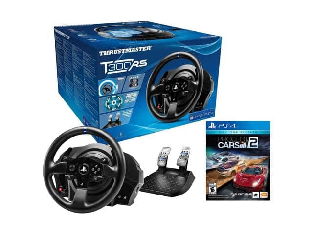 Thrustmaster T300RS PS4/PS3 Racing Wheel & Project Cars 2 Video Game Bundle w/ $50 GC