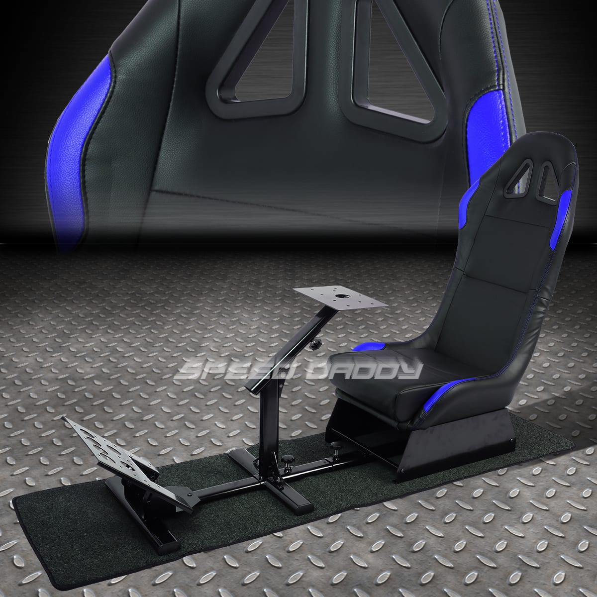 Cockpit driving simulator racing seat gaming chair w/gear pedals mount kit $248.88