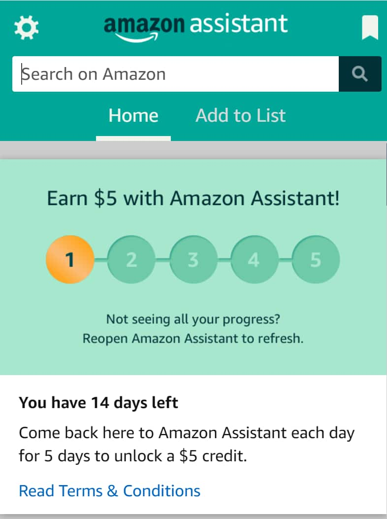 $ 5 credit for opening amazon assistant for  5 days YMMV - Targeted Email
