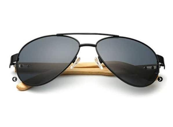 Midnight Black Bamboo Pilot Sunglasses only in $35.95 + free shipping $39.99