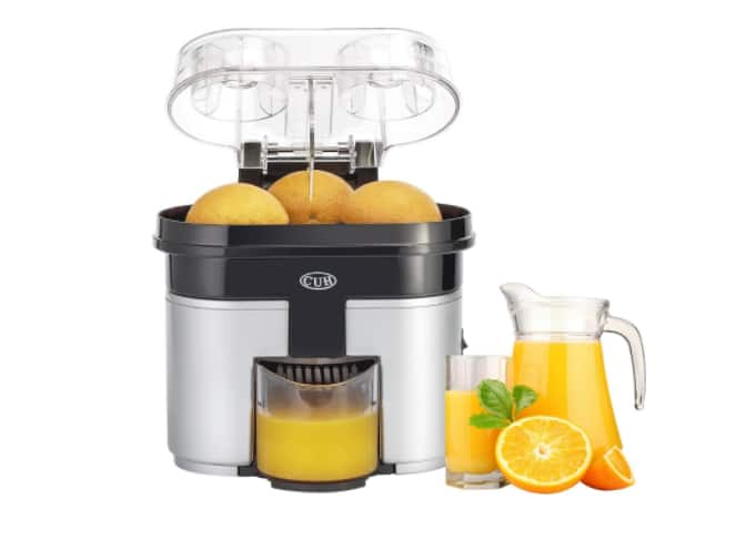 CUH 90W Double Orange Citrus Juicer with Pulp Separator Whisper and Built-in Slicer, Silver Black $39.99