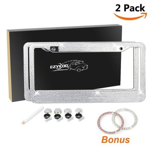 2 Pack Bling License Plate Frame Crystal Rhinestone License Plate Cover with 40% OFF $16.79