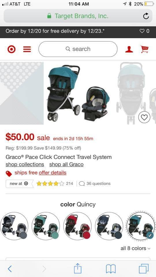 Graco Pace Click Connect Travel System $50 (no longer valid)