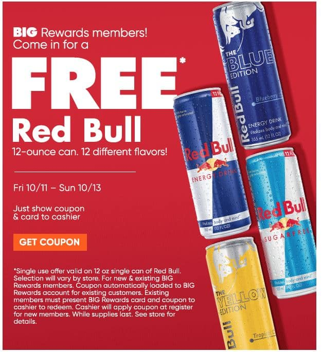 Free Red Bull by Big Lots for card members - and to NEW Members who sign up $0.01