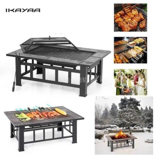 "37""  2 in 1 Patio  Fireplace BBQ Grill Table with Cover & Poker $86.88"