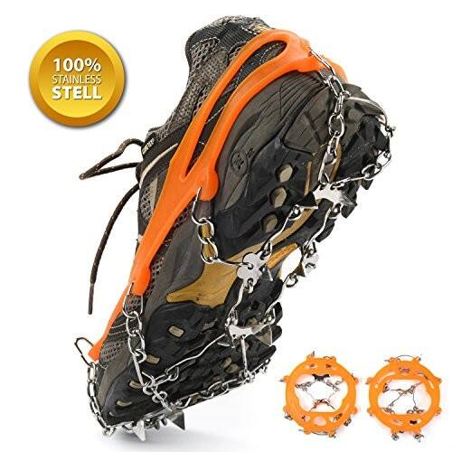 Unisex Multi-function Anti-slip Ice Cleat Shoe Boot Tread Grips Traction Crampon Chain Spike 1 Pair [12-Crampon] Lightning Deals on $12.00 $11.98