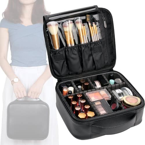 Travel Makeup Bag Leather Waterproof Cosmetic Case with Adjustable Divider $13.99 + Free Shipping