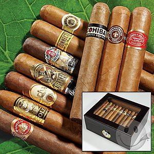 Cigar Intl, 10 Cigar sampler + 50 stick Humidor $29.99