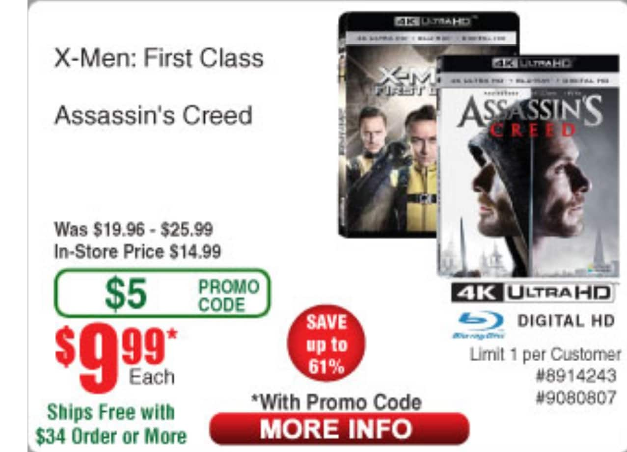 X-men first class & Assassins Creed 4k blu ray 9.99each w/promo code @frys electronics $9.99