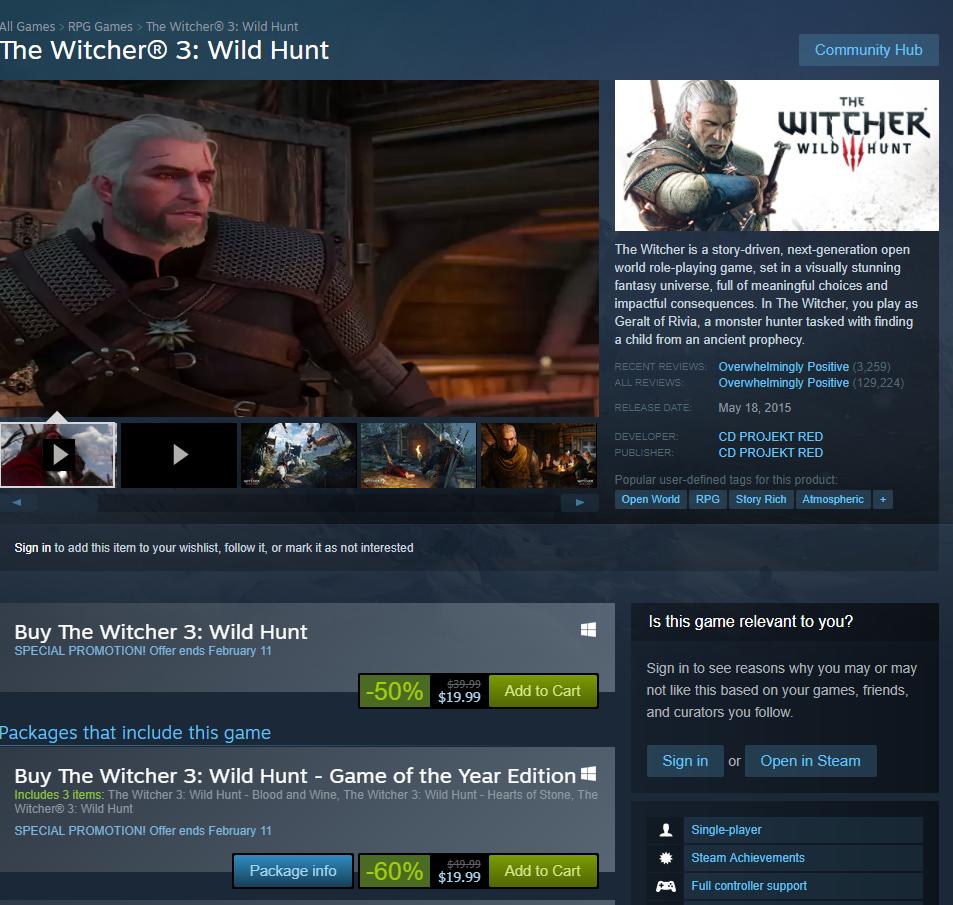witcher 3 GOTY EDITION on steam  $19.99