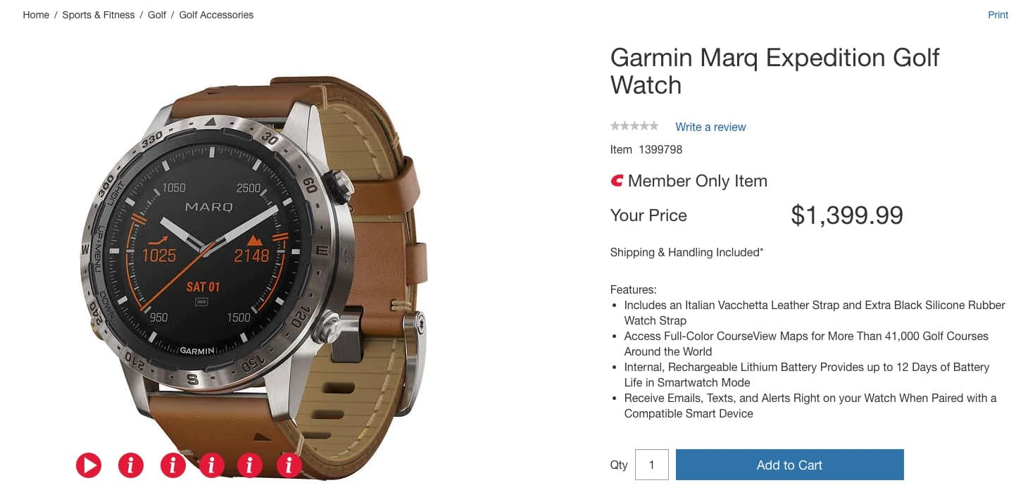 Garmin MARQ Adventurer (For Costco Members Only-Shipping & Handling Included by terms and conditions*) $1,399.99