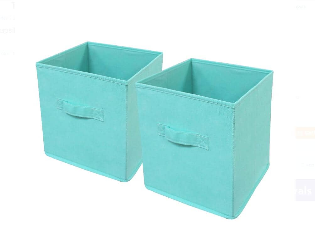Mainstays Collapsible Fabric Storage Cube, Set of 2, Classic Mint $7.76