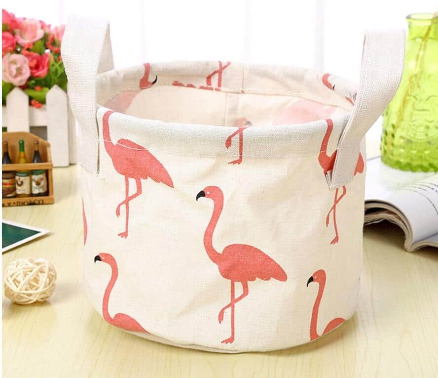 Portable Cotton Linen Waterproof Laundry Basket Folding Storage Basket Hamper,White $5.05