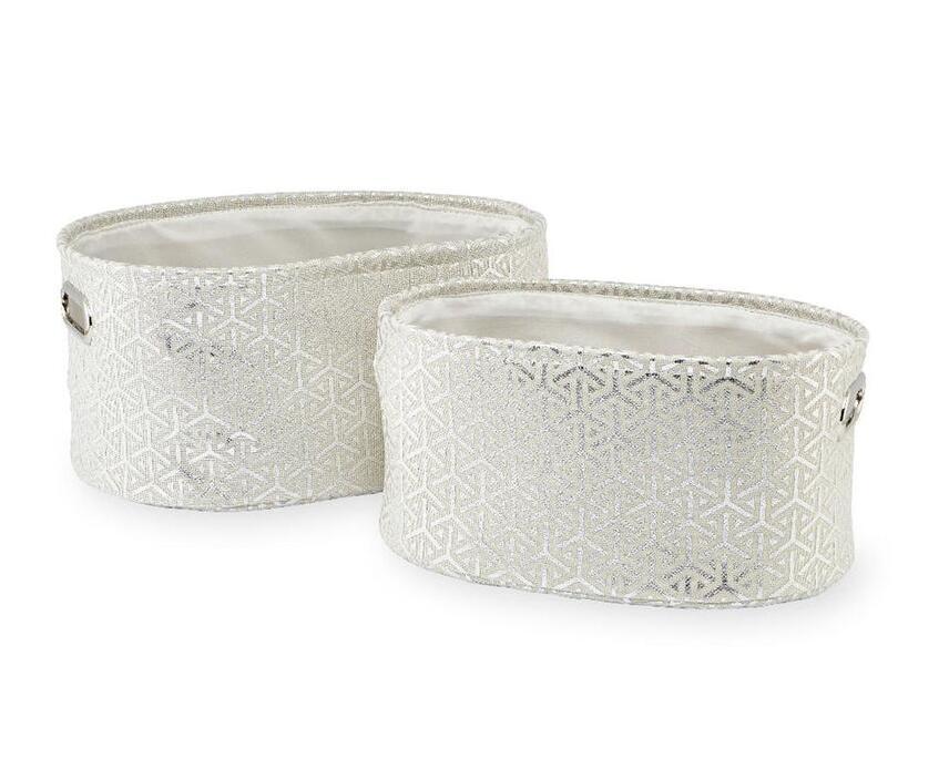 Koala Baby 2 Pack Oval Storage Bins - White/Silver Print $6.28