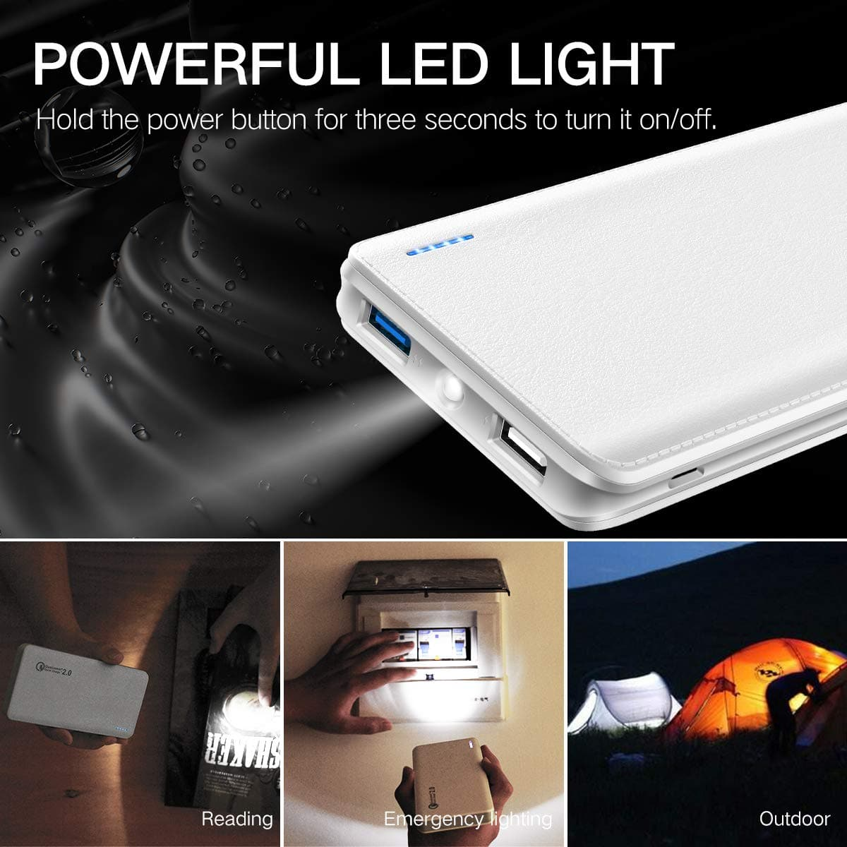 Power Bank 10000mAh, Dual output + Flashlight, Quick Charge 2.0 for iPhone, Samsung, etc -- $8.96 AC FS