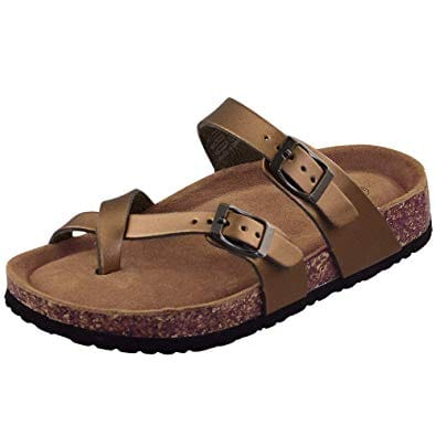 Women's Cork Sandals with Adjustable Toe Ring $17