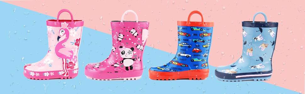 Kids Waterproof Rubber Printed Rain Boots with Handles -- $5.99
