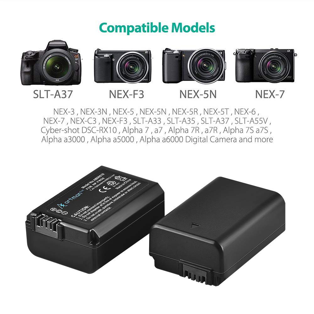 2-Pack Batteries 1300mAh NP-FW50 and USB Dual Charger Kit for Sony A6000, A7, NEX, etc -- $16.79