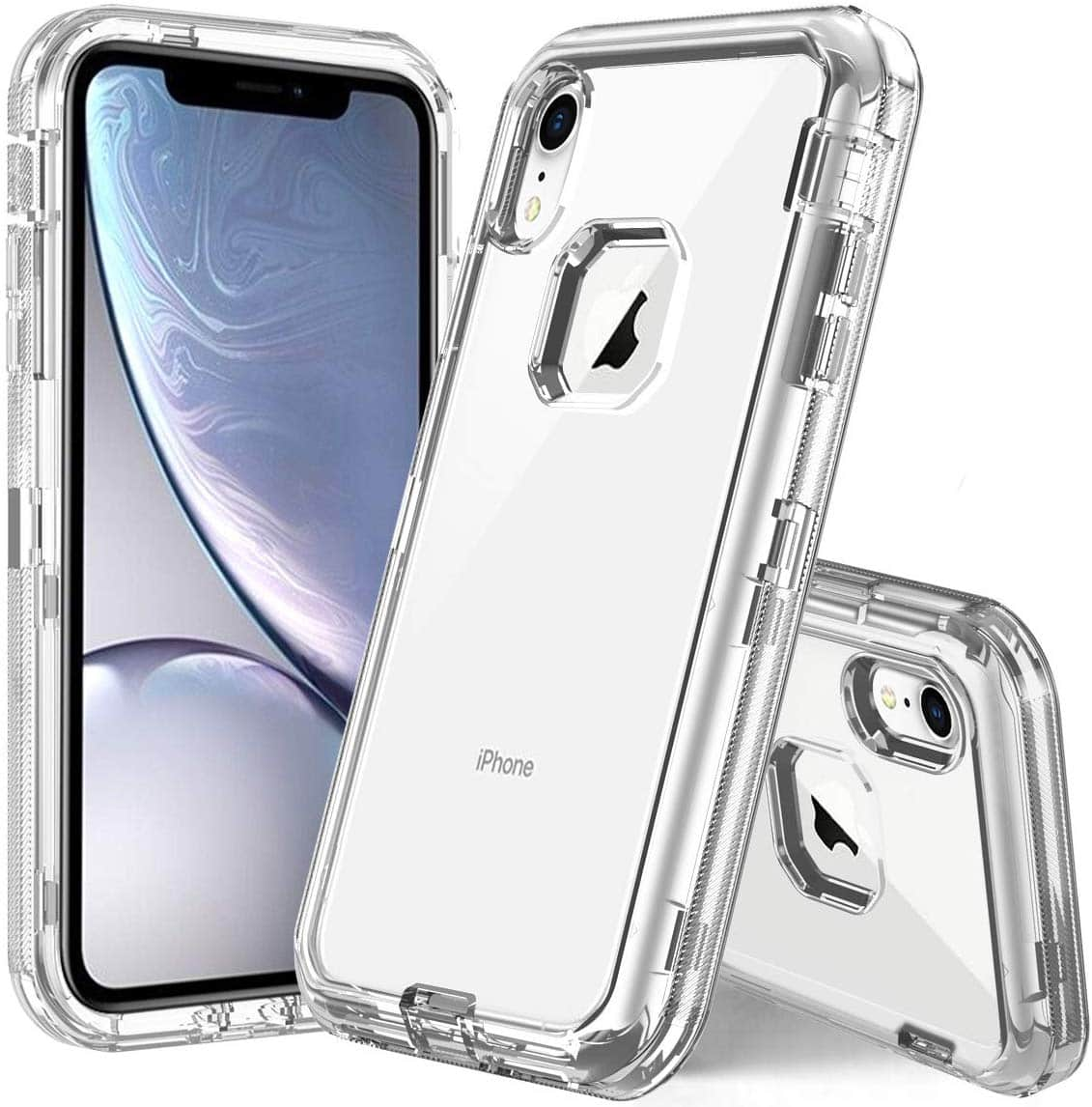 iPhone XR 6.1 Clear Heavy Duty Case with Bumpers and Soft Back -- $3