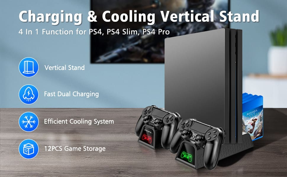 PS4 Cooler Stand, Controller Charger, Game Storage -- $19.59