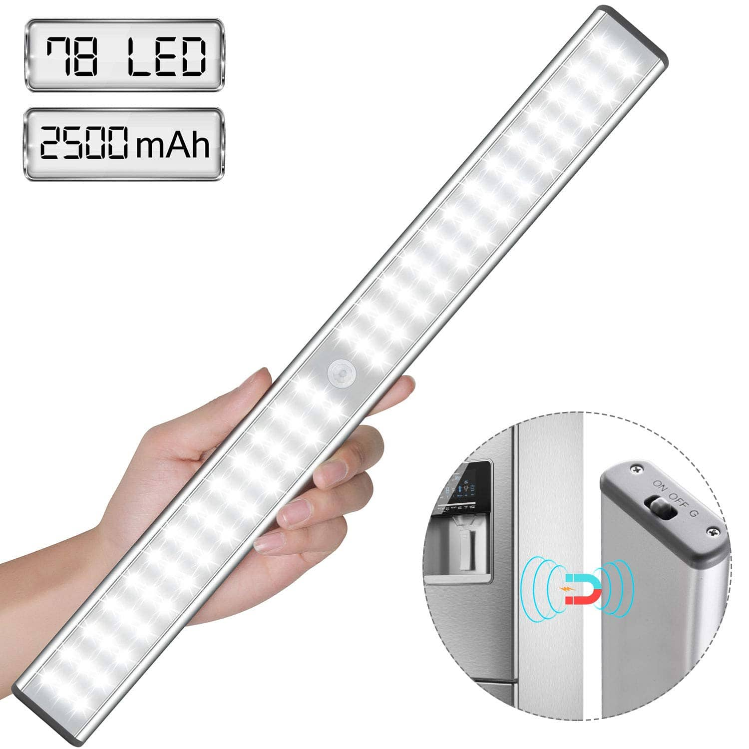 Super Bright Rechargeable Magnetic Closet Light 78LED -- $15.59