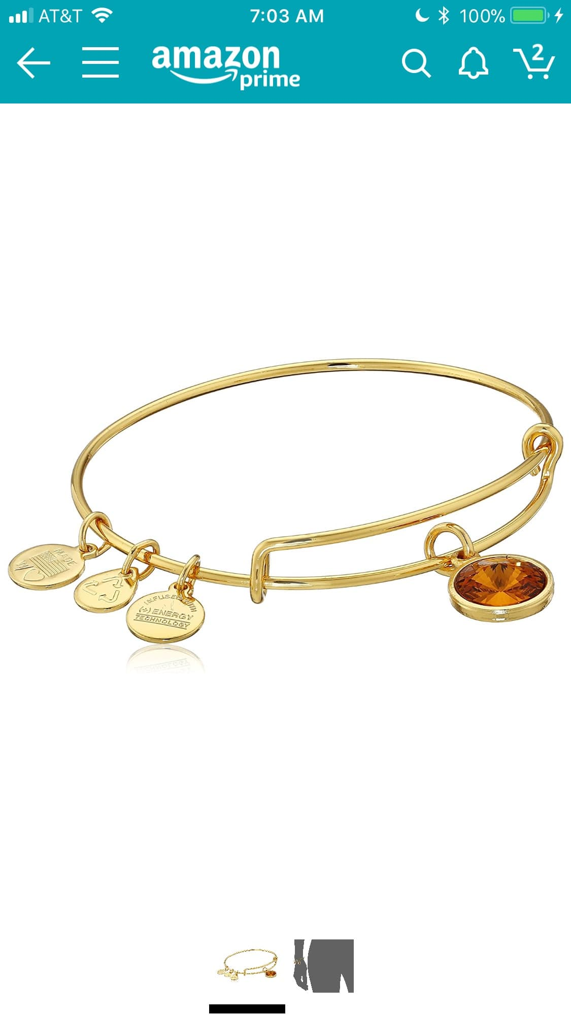 Alex and Ani Gold November Birthstone Bangle Add On $4.34