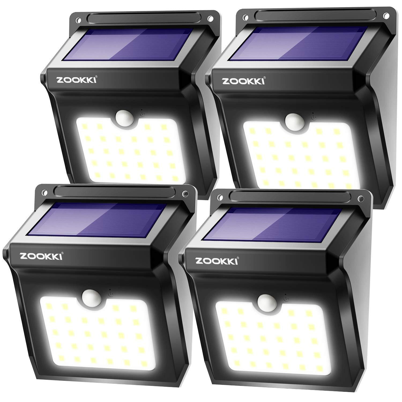 ZOOKKI Solar Lights Outdoor, 28 LED Wireless Motion Sensor Lights, Waterproof Security Lights, 4 Pack $17.49 After Amzn Coupon