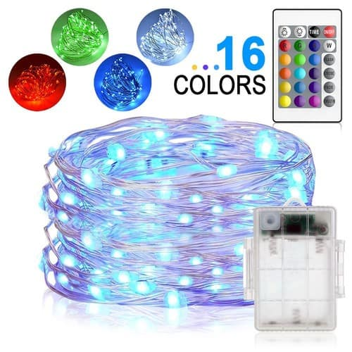 LED String Lights, Yoozon 16ft 50 LEDs Fairy Lights Battery Operated Waterproof 16 Colors Outdoor String Lights with Remote Control LED Lights $13.99
