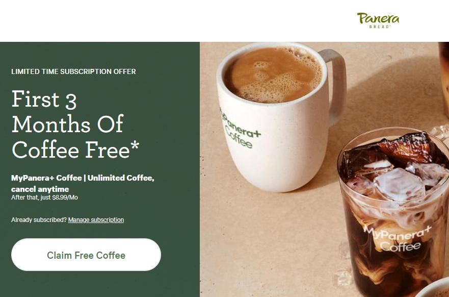 3 Months Of Free Coffee at Panera