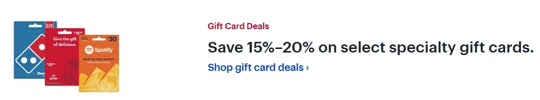 Save 15%–20% on select specialty gift cards.