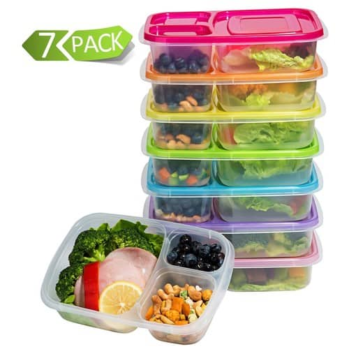[7 Pack]Meal Prep Containers 3-Compartment Lunch Boxes Food Storage Containers $10.69 FS prime