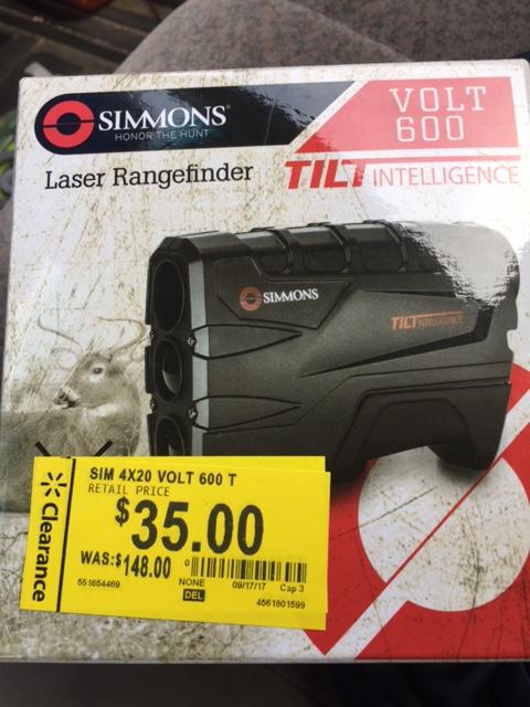 Walmart -  Simmons 801600T 4x LASER Rangefinder W/ Tilt - $35 YMMV
