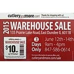 Cutleryandmore.com 2015 Warehouse Sale - $10 off $50 purchase coupon
