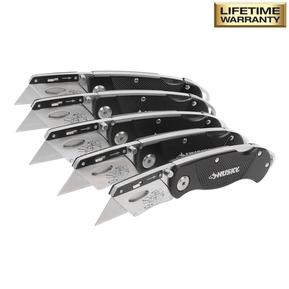 Husky Folding Lock-Back Utility Knife (5-Piece) $14.88
