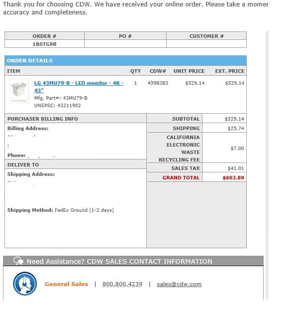 "43"" LG 43MU79-B UHD 4K IPS Panel COMMERCIAL-GRADE LED MONITOR for $562 Shipped - @ cdw.com"