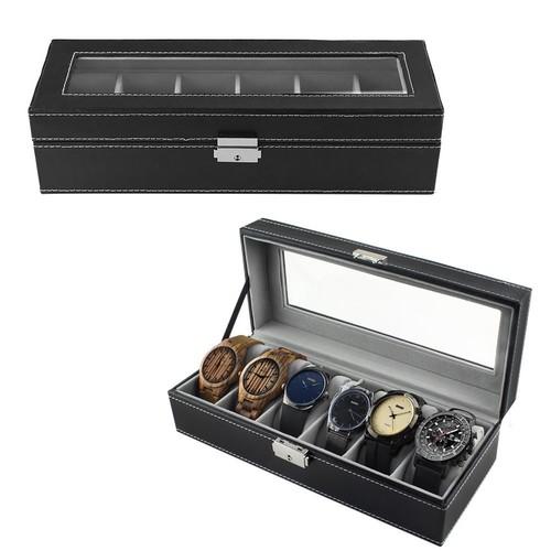 6 Slot Leather Watch Box Display Case Organizer Glass Jewelry Storage Black $10.99