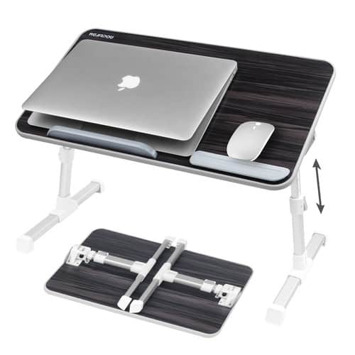 Laptop Bed Tray Table, Nearpow Adjustable Laptop Bed Stand, Portable Standing Table with Foldable Legs, Foldable Lap Tablet Table for Sofa Couch Floor - Medium Size [Black] $23.99