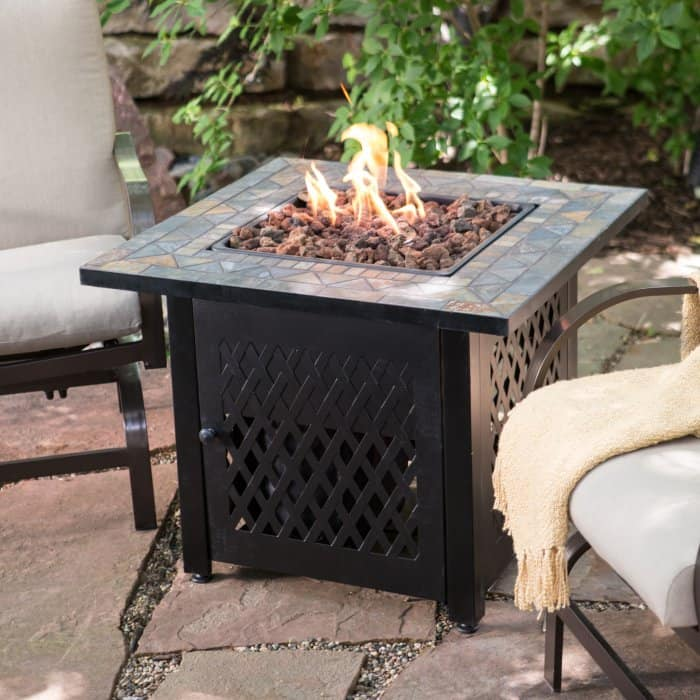 Endless Summer Decorative Slate Tile Mantel LP Gas Outdoor Fire Pit  with cover now 119