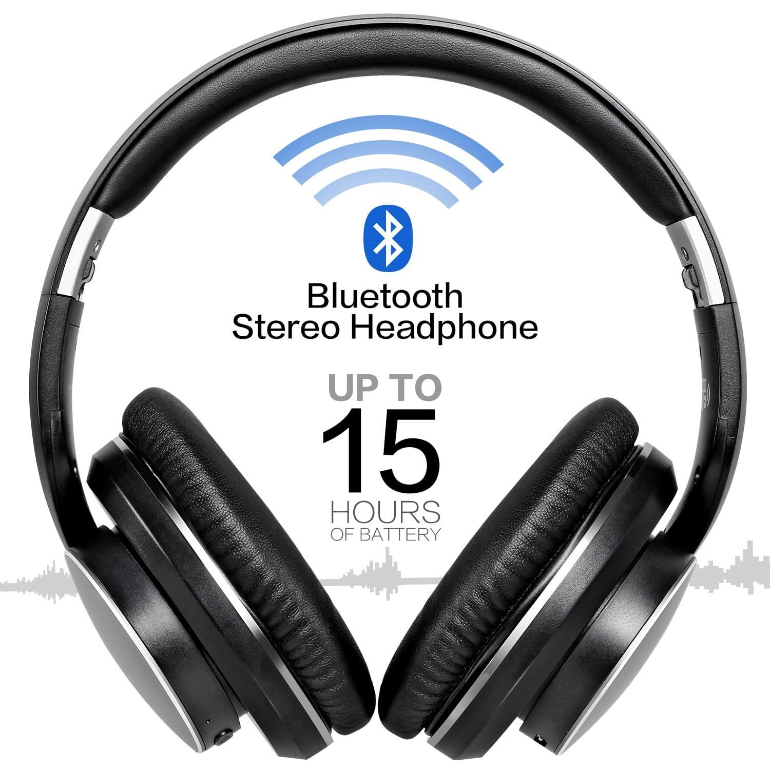 Bluetooth V4.1+EDR Over-ear Headphones Wireless Advanced Stereo Foldable Headsets with Mic - Black $29.99 @Amazon +FS