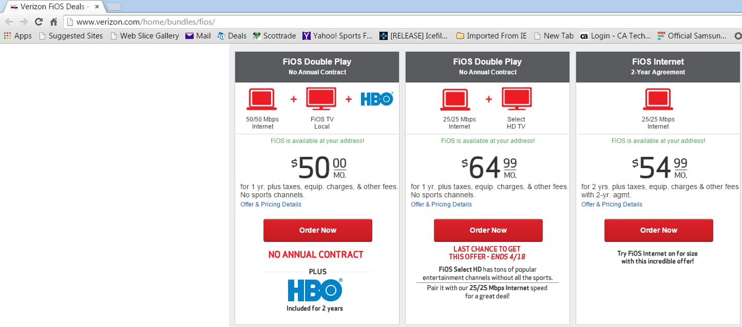 2015 Verizon FIOS Double Play 50/50 + Local TV + HBO $50/Month for 1 Yr No Contract