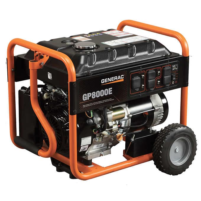 Costco B&M Generac 8,000W Portable Generator (GP8000E) with Electric Start and 20' Cord $699.99