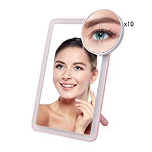 LED Makeup/Cosmetic Mirror with Touch Screen Dimming, Detachable 10X Magnification Spot Mirror $8.99