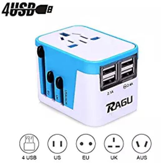 RAGU 4 USB Charging Ports & 8-Hole Socket International Travel Adapter Wall Charger $6.99
