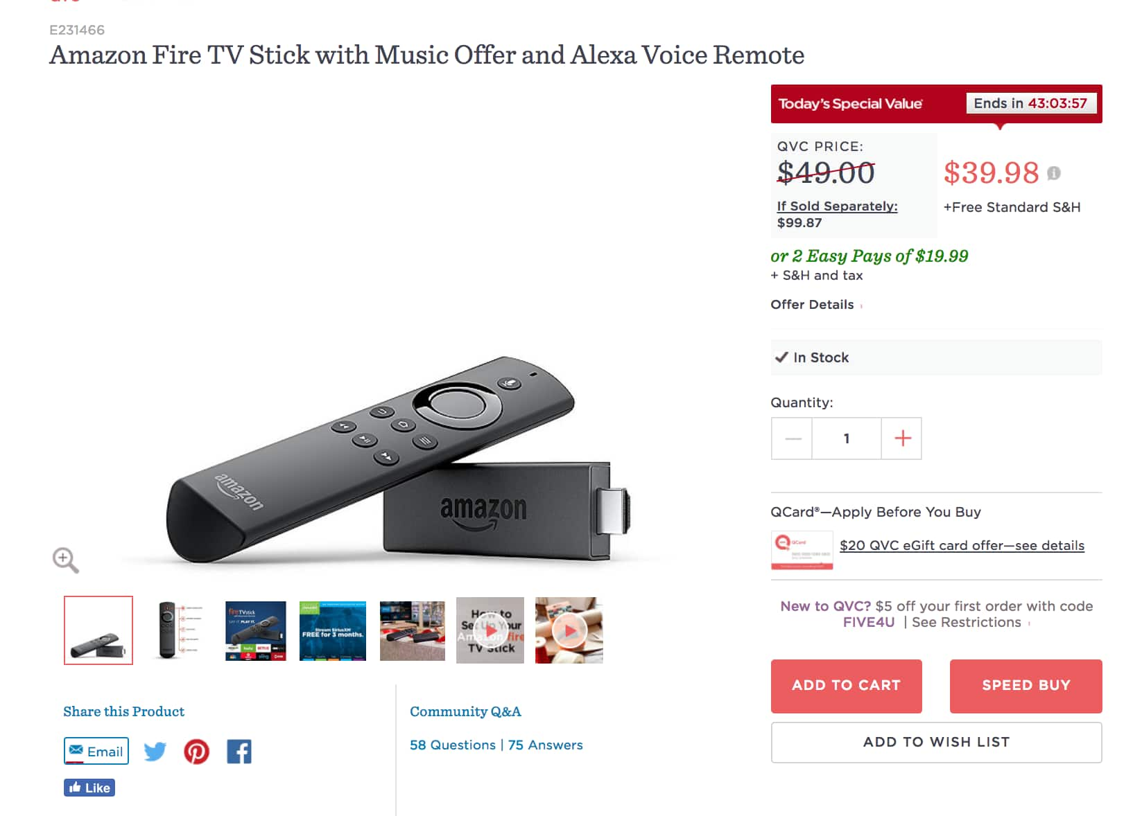 $10 OFF - FREE S&H - Amazon Fire TV Stick with Music Offer and Alexa Voice Remote $39.98