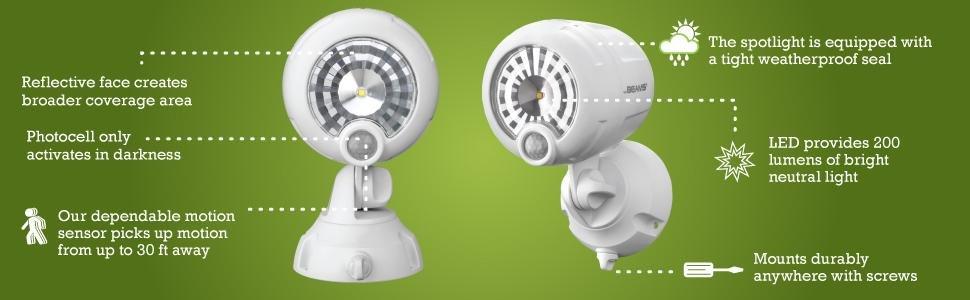 2-Pack MR BEAMS  Wireless 200 Lumen Motion Security Spotlights $33
