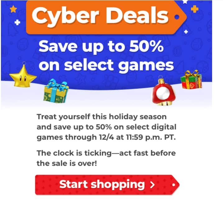 Digital Nintendo Switch Games Cyber Discount up to 50%