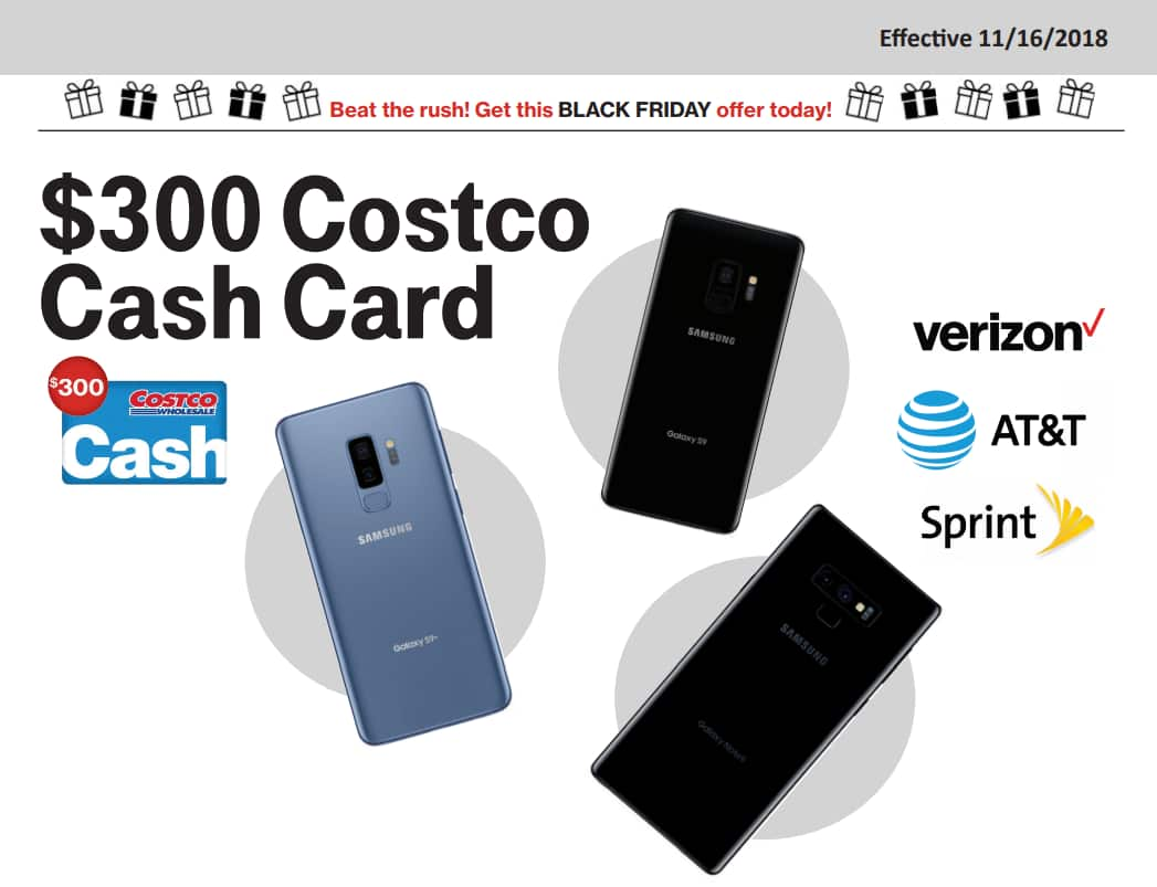 S9 With Purchase Verizon New Gift Costco S9 Galaxy - Or And Note9 Samsung At amp;t Sprint Existing Card Of Customers 300