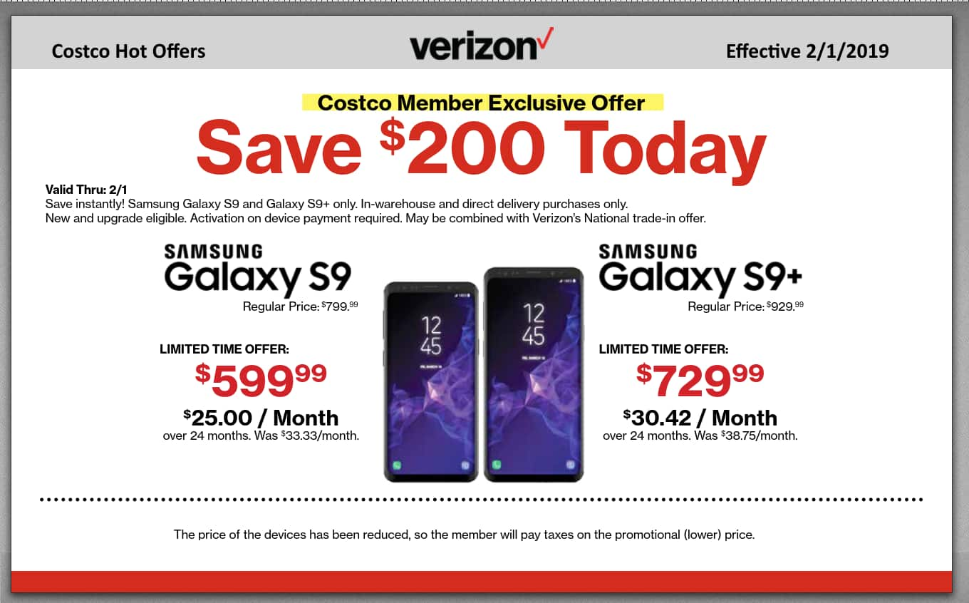 COSTCO - New or Existing Verizon Customers - $200 Instant discount on Samsung Galaxy S9 and S9+!